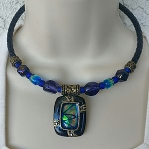 Chico's Blue Rope Pendant Necklace Bronze Tone